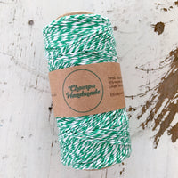 GREEN & WHITE - TWINE - Slightly waxed string