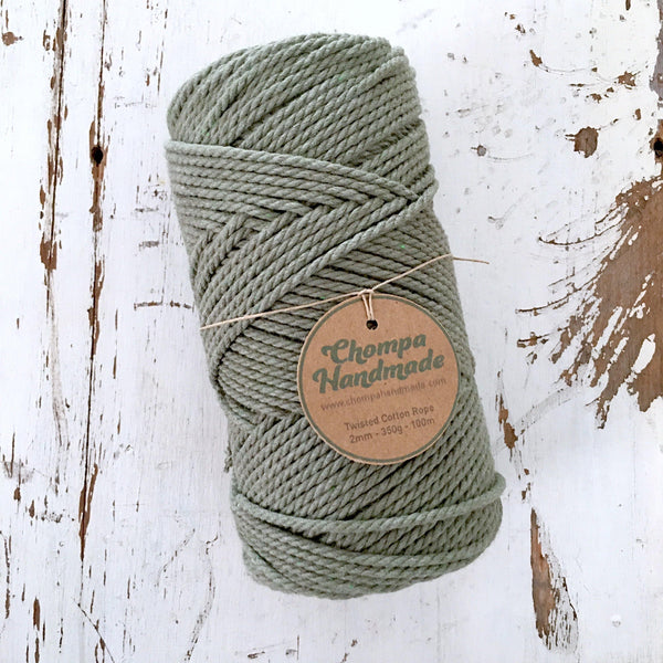 SAGE - 2mm TWISTED COTTON ROPE