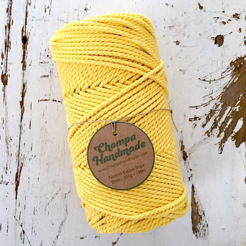 YELLOW - 2mm TWISTED COTTON ROPE - Chompa Handmade