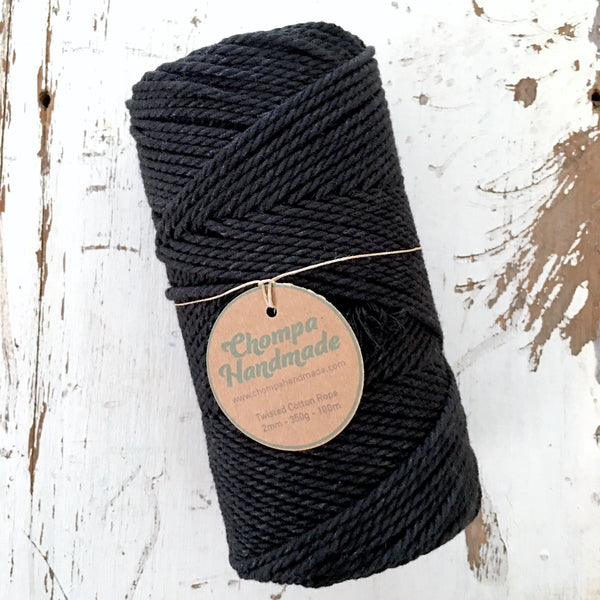 BLACK - 2mm TWISTED COTTON ROPE