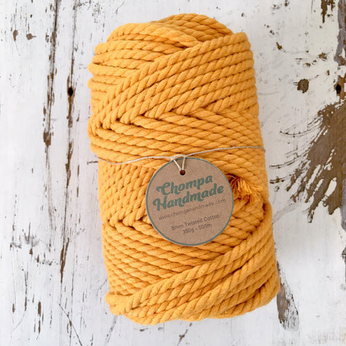 Mustard 5mm TWISTED 500g - Chompa Handmade
