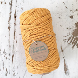 MUSTARD - 2mm TWISTED COTTON ROPE - Chompa Handmade