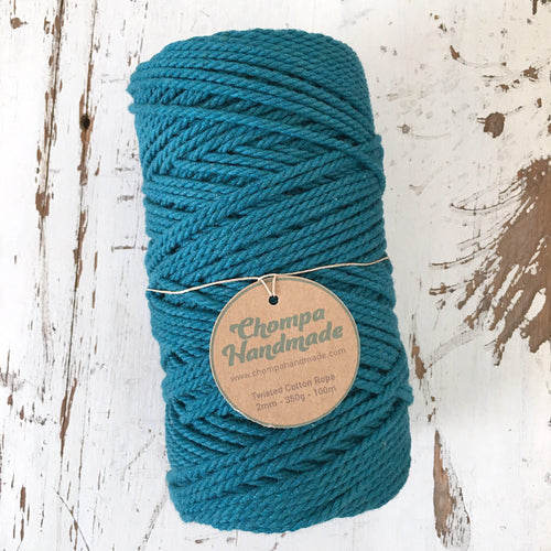 TEAL - 2mm TWISTED COTTON ROPE - Chompa Handmade