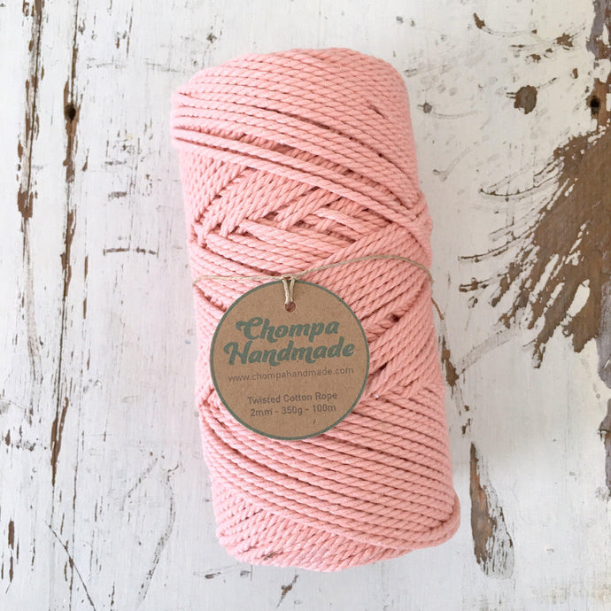 PEACH - 2mm TWISTED COTTON ROPE - Chompa Handmade
