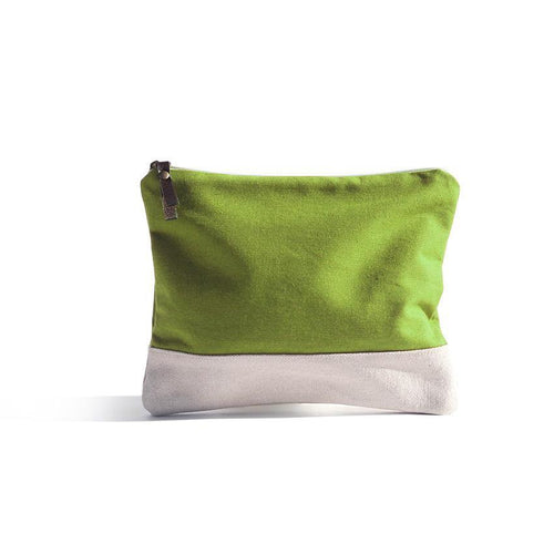 Lime Green Pouch - Basic bicolour pouch handmade in Valencia, Spain with 100% cotton canvas by Júlia Marco.