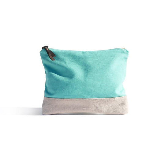 Lucite Green Pouch - Basic bicolour pouch handmade in Valencia, Spain with 100% cotton canvas by Júlia Marco.