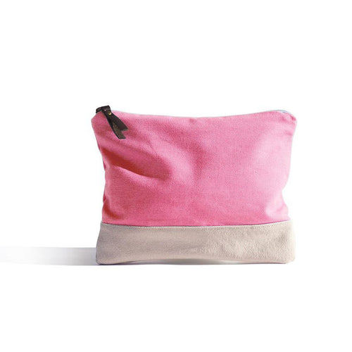 Pink Pouch - Basic bicolour pouch handmade in Valencia, Spain with 100% cotton canvas by Júlia Marco.