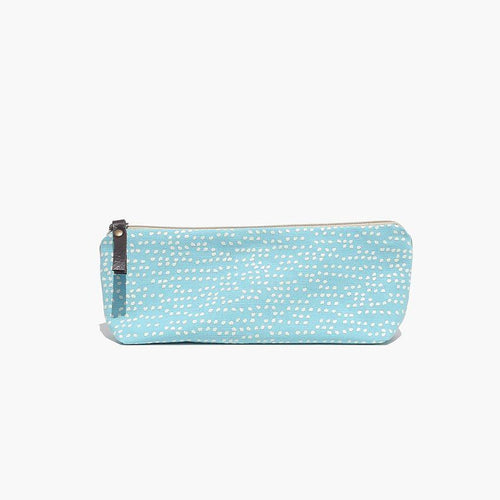 Seurat aquamarine - Hand screen-printed/handmade pencil case made with 100% cotton canvas by Júlia Marco.