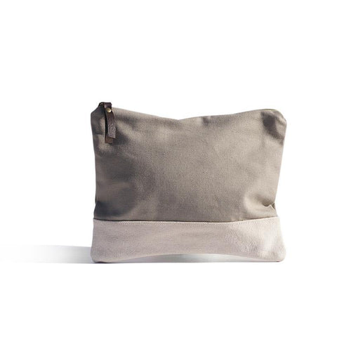 Warm Grey Pouch - Basic bicolour pouch handmade in Valencia, Spain with 100% cotton canvas by Júlia Marco.