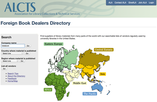 Ketabook in the ALA foreign dealers directory