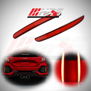 Load image into Gallery viewer, HRS - 2016-20 Honda Civic Hatchback FK7 FK8 Rear Bumper LED Reflectors Red - V1