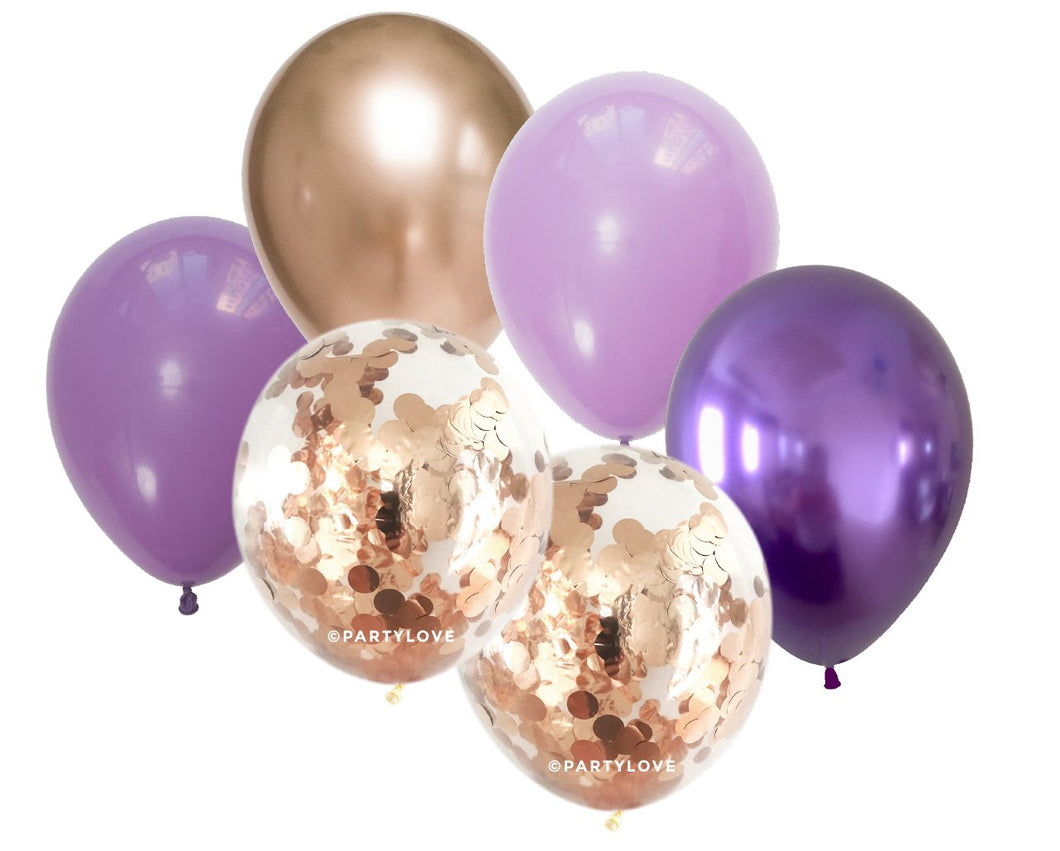 Blueberry Glam – Metallic Balloons With 2 Confetti Balloon Bouquet (12 Pack) 12/41