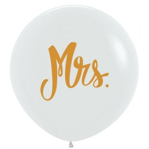 60cm White Gold Mrs Balloon-Party Love