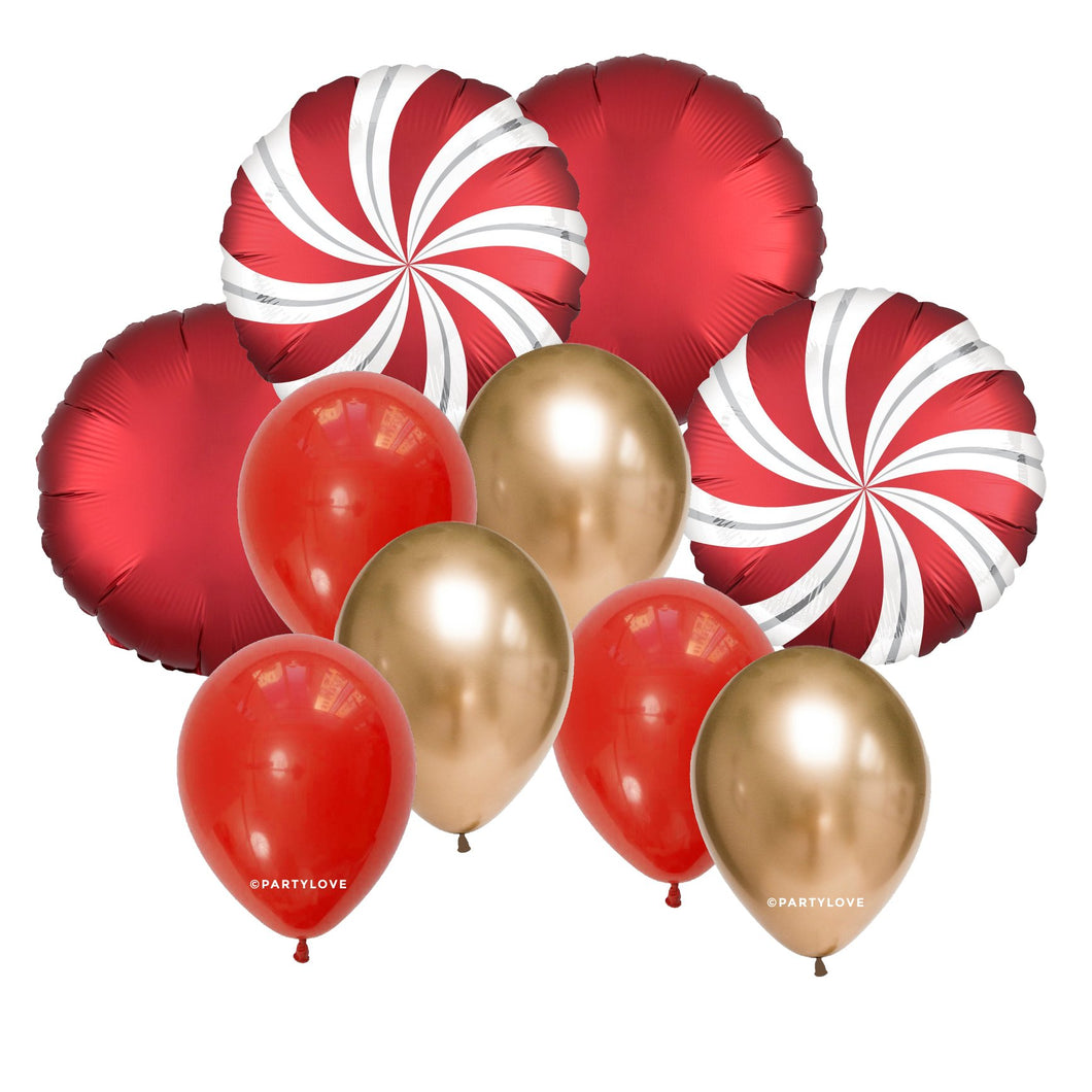 Red Candy Christmas Balloon Bouquet (10 Pack) 10/66