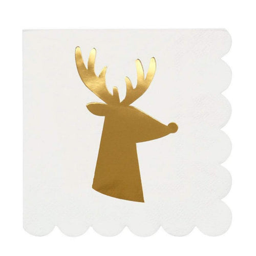 Gold Foil Reindeer Cocktail Napkins