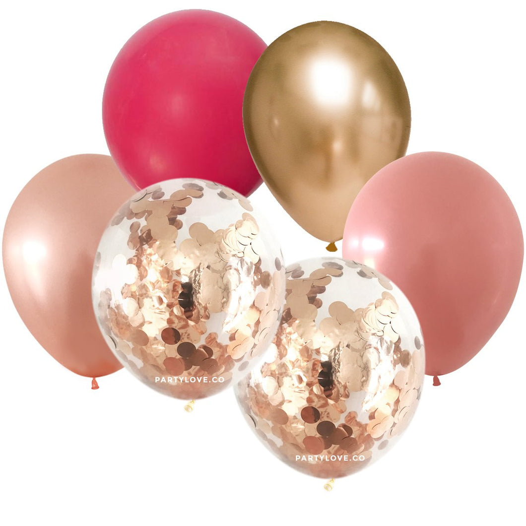 Wild Berry Rosewood Gold Confetti Balloon Bouquet (12 Pack) 12/25