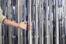 Load image into Gallery viewer, XL Metallic Navy Curtain (1m x 2.4m)-Party Love