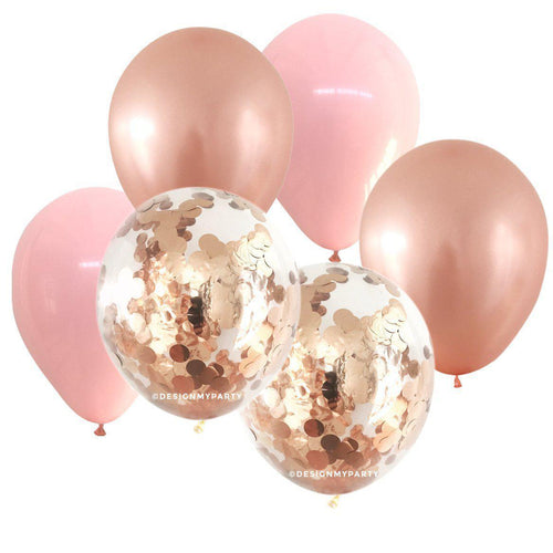 Blush Glam – Rose Gold Confetti Balloon Bouquet (12 Pack)-Party Love