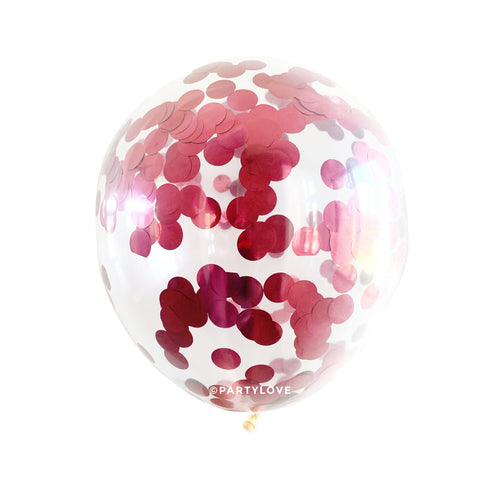 Burgundy Foil 2cm Confetti Balloons (3 Sizes Available)-Party Love