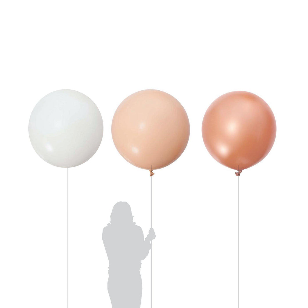 Champagne Jumbo White, Blush, Rose Gold Balloon 90cm (3 Pack)-Party Love