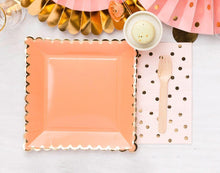 Load image into Gallery viewer, Coral Peach Gold Large Square Party Plates (12 Pack)-Party Love