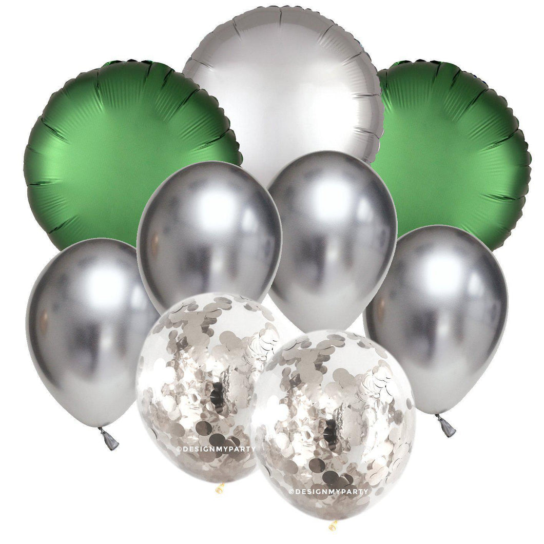 Emerald Green Luxe Silver Confetti Balloon Bouquet (9 Pack)-Party Love