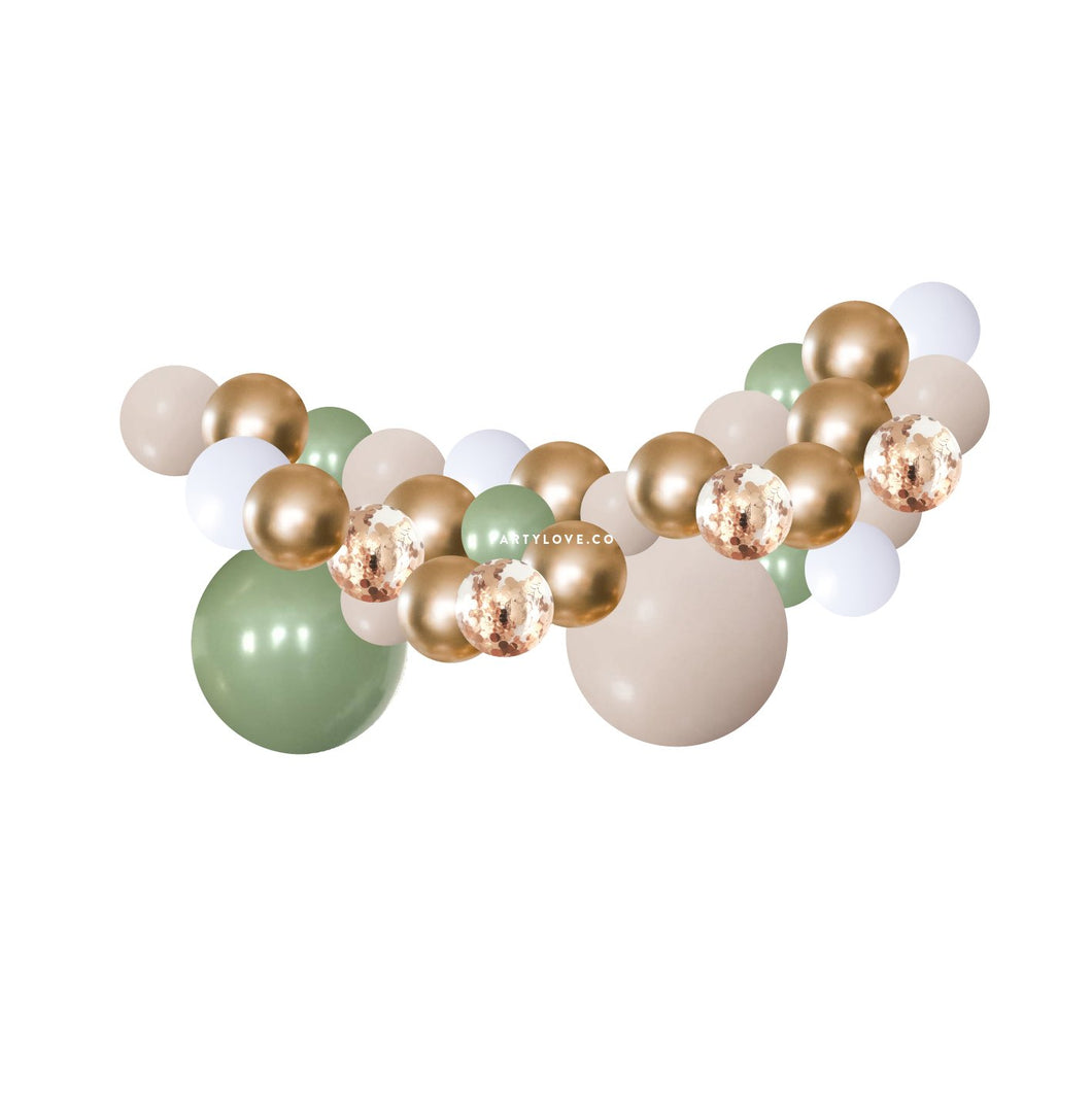 Eucalyptus White Sand Gold Balloon Garland Kit 2 Meter PL2022-Party Love
