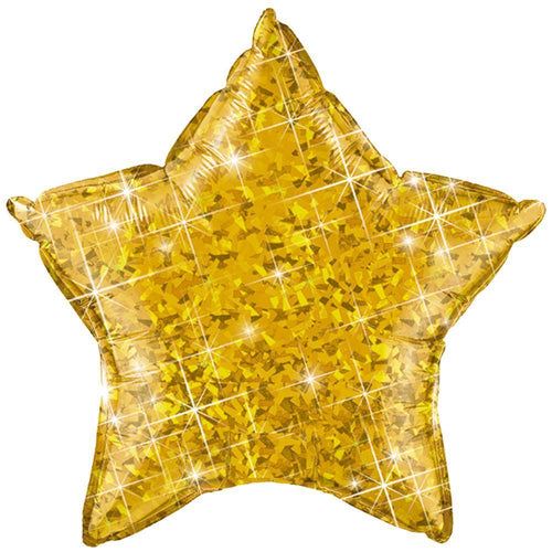Gold Holographic Star Balloon 20