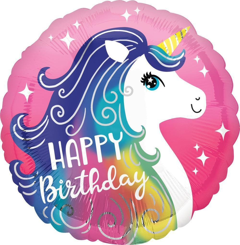 Happy Birthday Unicorn Foil Balloon 45cm-Party Love