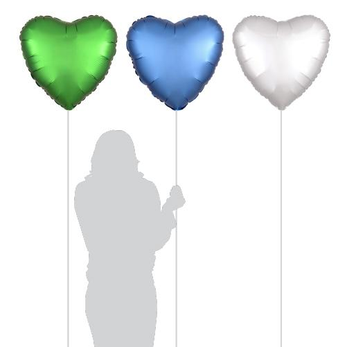 Heart Luxe Greem, Blue and White Foil Balloons (3 Pack)-Party Love