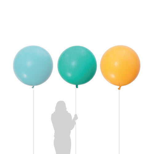 Jumbo Golden Rod, Carribean Blue, Light Blue Balloon 90cm (3 Pack)-Party Love