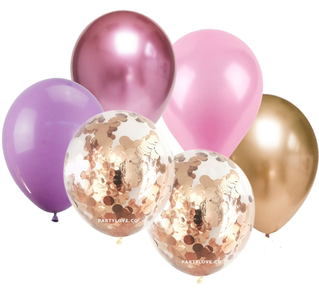 Lola Pink, Lilac Gold Confetti Balloon Bouquet (12 Pack)-Party Love