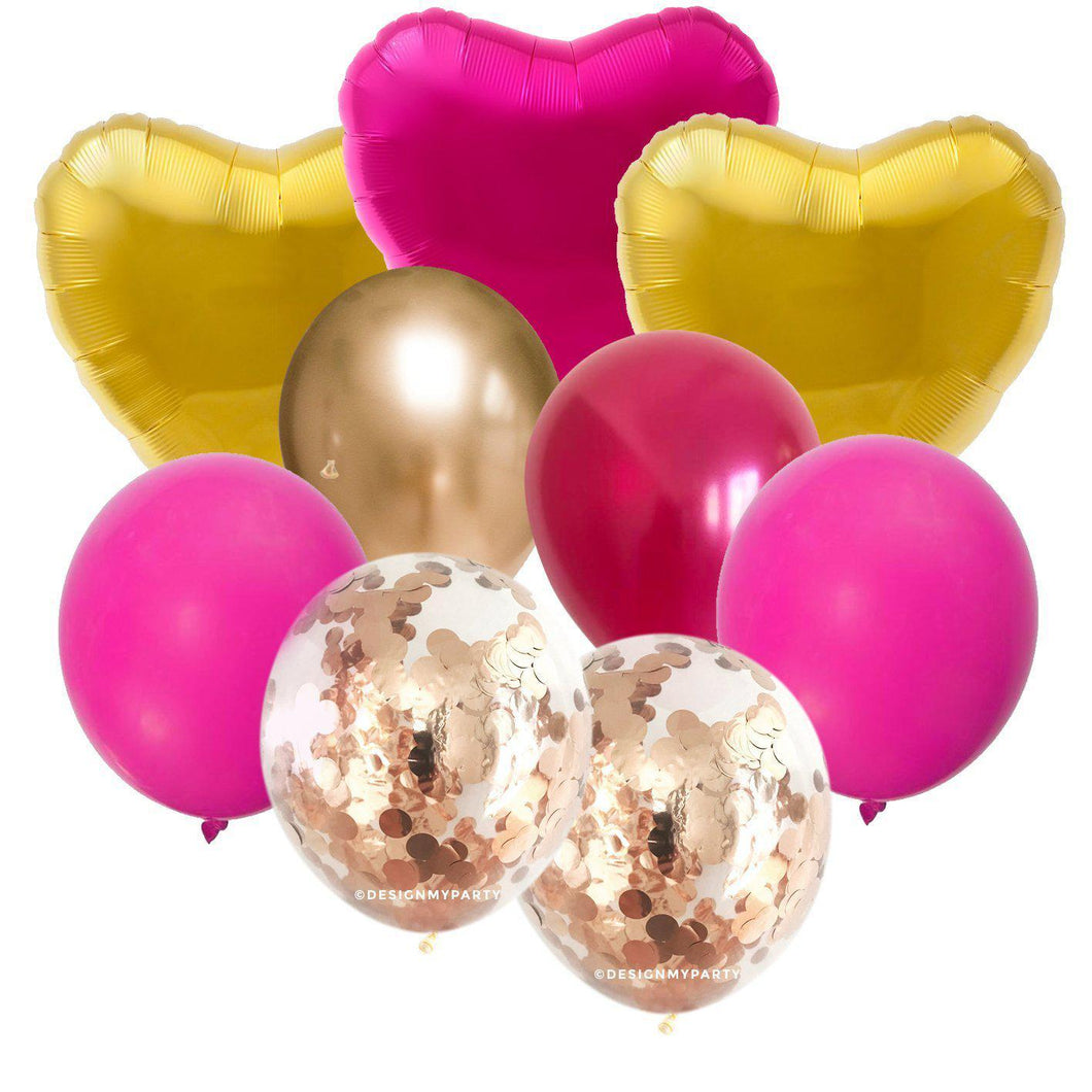 Luxe Hearts with Gold Pink Hearts, Rose Gold Balloon Bouquet (9 Pack)-Party Love