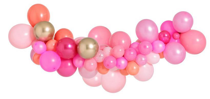 Medium Pink Shimmer Balloon Garland 1.5m-Party Love