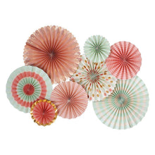 Load image into Gallery viewer, Paper Love Trend Party Fans, Coral, Mint, Gold (Pack of 8)-Party Love