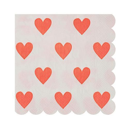 Pink Heart Party Napkins-Party Love
