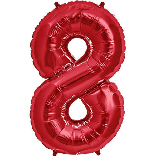 SALE 83cm Red Number 8 Foil Balloon-Party Love