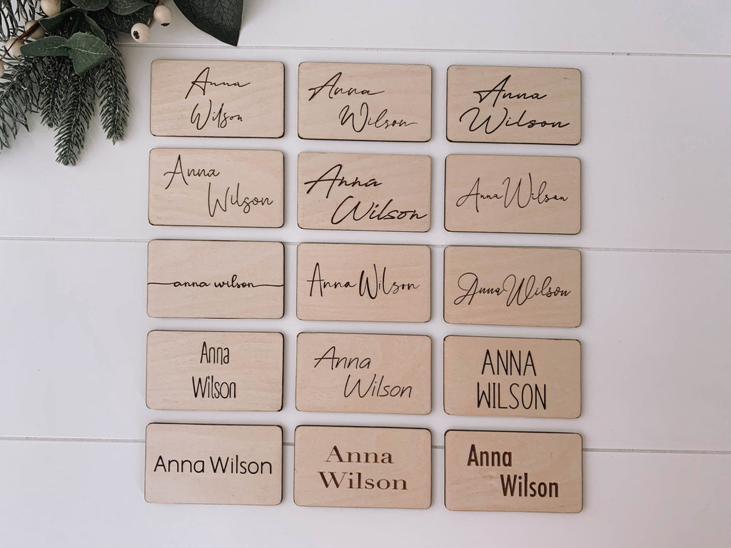 Wooden engraved wedding place card favour NZ