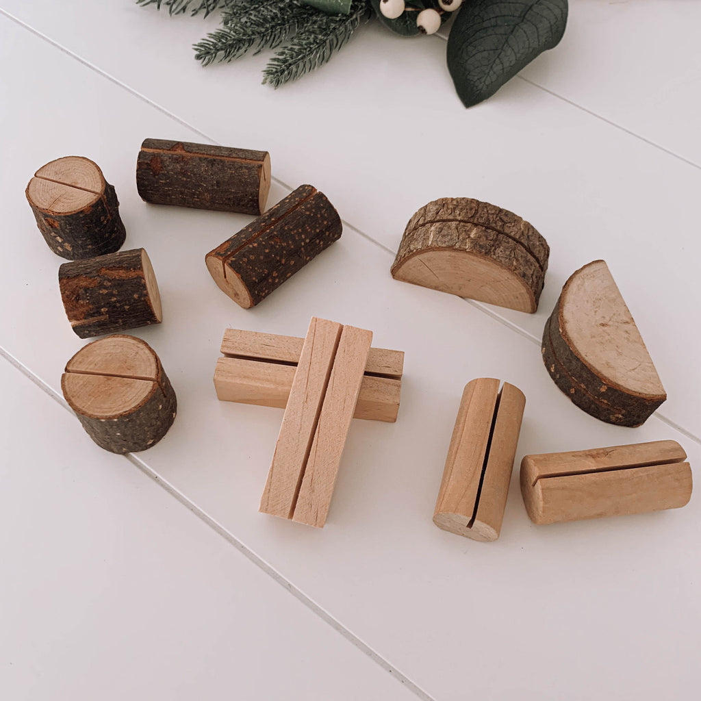 Wooden table number menu place card stand log NZ