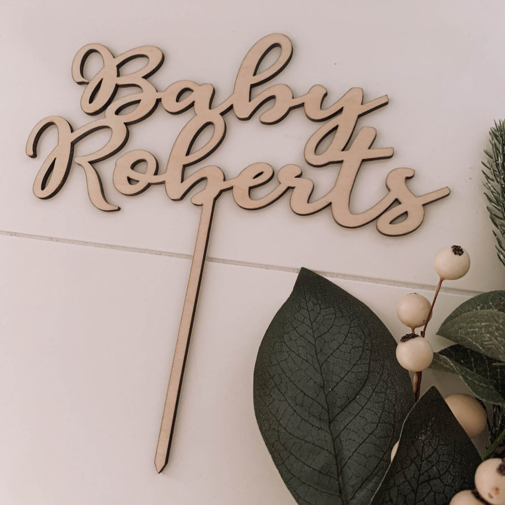 Wooden cake topper party wedding baby NZ
