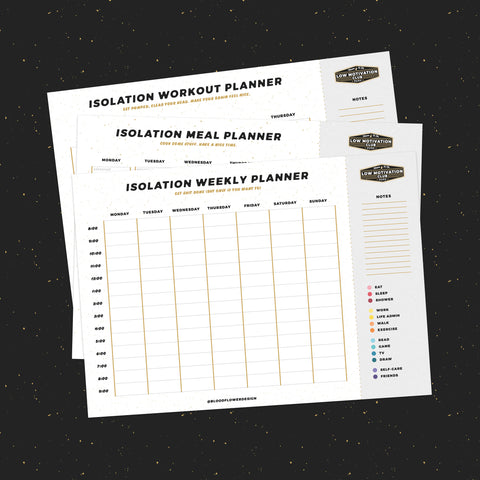 Low Motivation Club Isolation Planners (Weekly Plan, Meal Plan, Workout Plan)