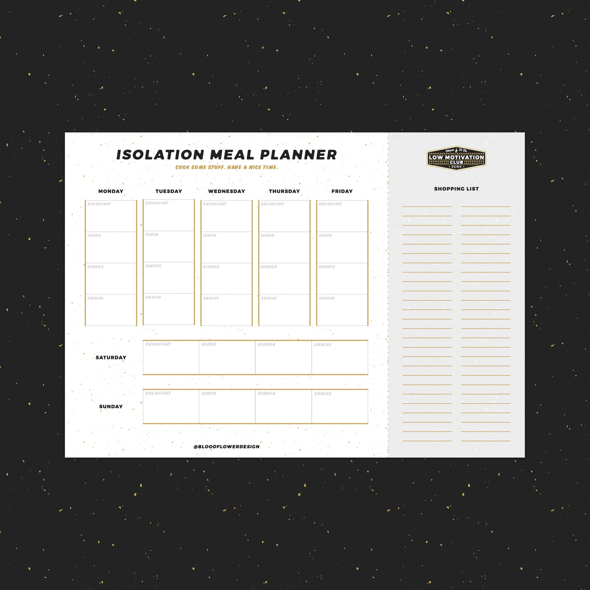 Low Motivation Club Isolation Meal Planner