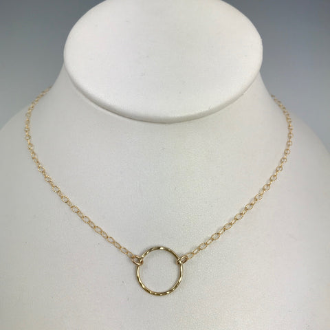 Side to Side Gold Circle Necklace (textured chain)