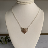 Side to Side Silver Heart Necklace