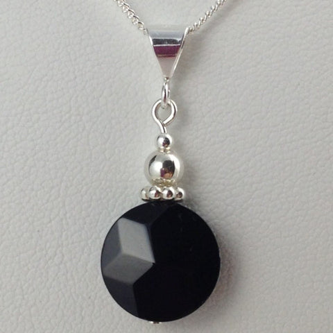 Black Onyx Star Faceted Pendant