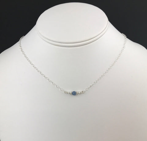 Side to Side Blue Kyanite Bead Necklace- Single