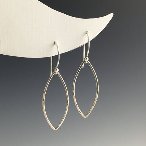 Silver Marquise Shape Earrings - Medium