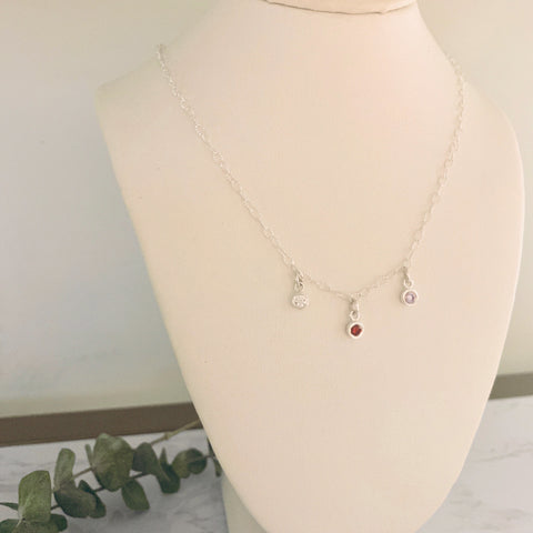 Custom Silver Birthstone Necklace