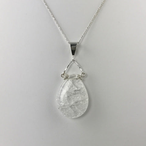 Quartz Crystal Teardrop Pendant- Large