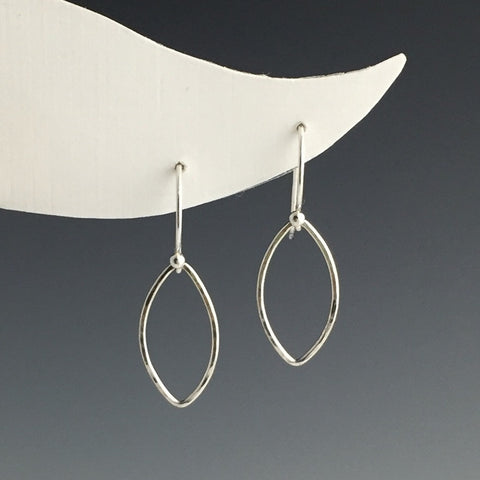 Silver Marquise Shaped Earrings - Small